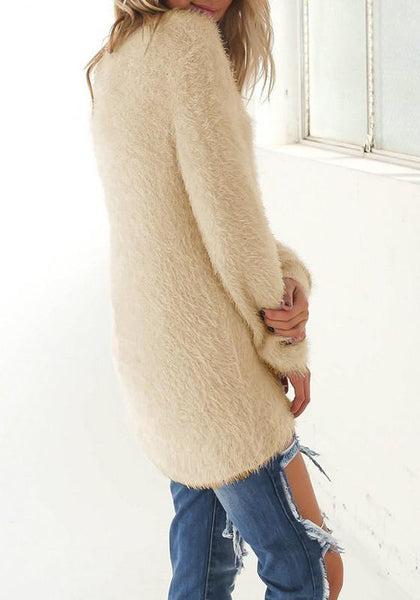 Apricot Plain Round Neck Long Sleeve Pullover Sweater