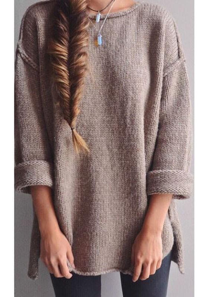 Apricot Plain side slit Round Neck Fashion Acrylic Pullover Sweater