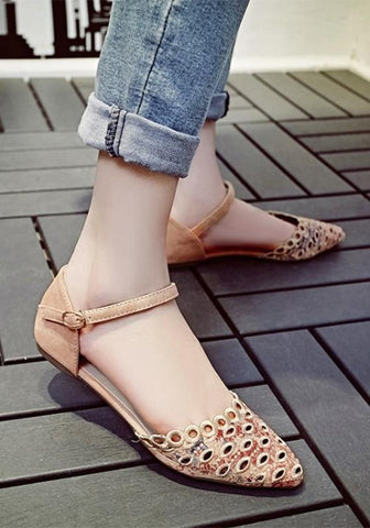 Apricot Point Toe Hollow-out Buckle Casual Flat Shoes