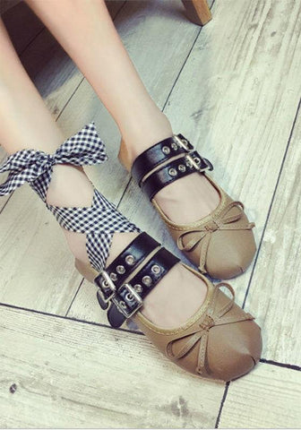 Apricot Round Toe Bow Double Buckle Silk Drawstring Sweet Flat Shoes