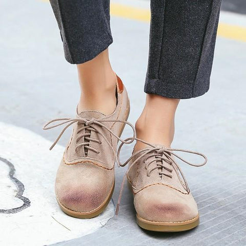 Apricot Round Toe Flat Lace-up Casual Shoes