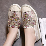 Apricot Round Toe Flat Rhinestone Casual Shoes