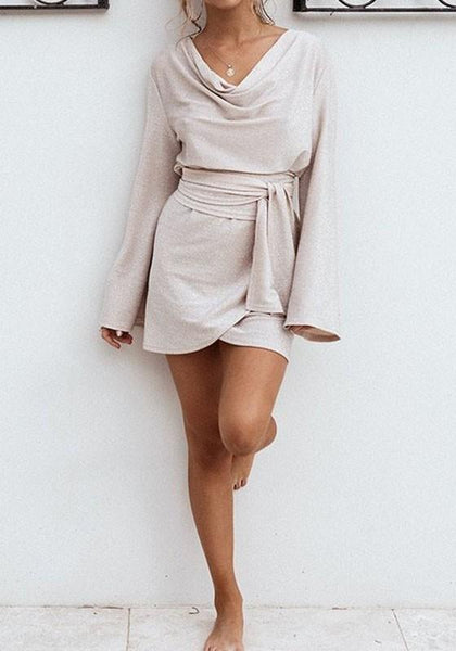 Apricot Sashes Pleated Long Sleeve Mini Fashion Dress