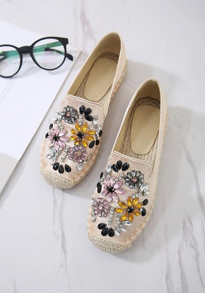 Apricot Square Toe Flat Rhinestone Flower-shaped Casual Flats