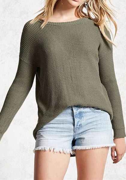 Army Green Backless Cut Out Round Neck Long Sleeve Pullover Sweater