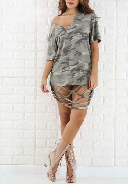 Army Green Camouflage Cut Out Half Sleeve Clubwear Camo Mini Dress