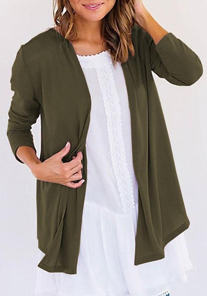 Army Green Draped Collarless Long Sleeve Casual Cardigan Sweater