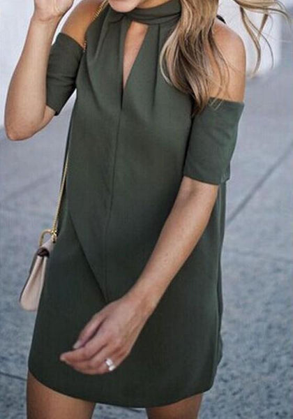 New Women Army Green High Neck Off-Shoulder Short Sleeve Mini Dress