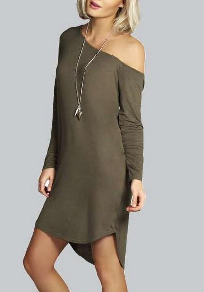 Army Green Irregular Boat Neck Long Sleeve Casual Mini Dress