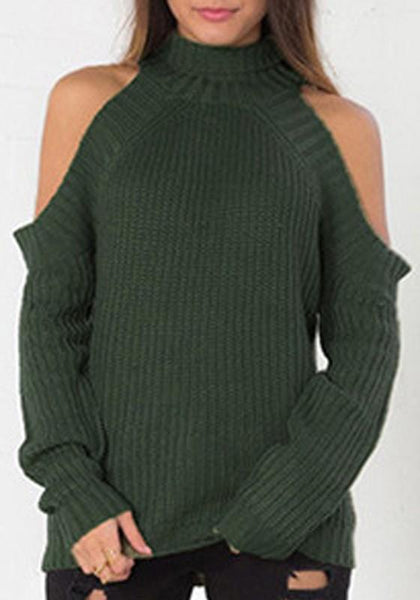 Army Green Irregular High Neck Long Sleeve Casual Pullover Sweater