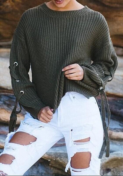 Army Green Irregular Lace-up Slit Round Neck Long Sleeve Pullover Sweater
