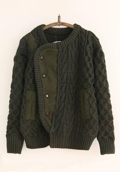 Army Green Patchwork Pockets Single Breasted Cardigan