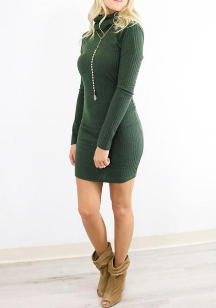 Army Green Plain Backless High Neck Long Sleeve Bodycon Mini Dress