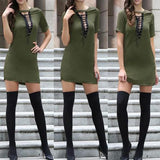 Army Green Plain Cut Out Lace Up Bodycon Club Mini Dress