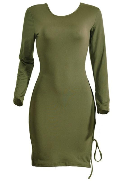 Army Green Cross Back Hollow-out Open Back Long Sleeve Club Bodycon Mini Dress