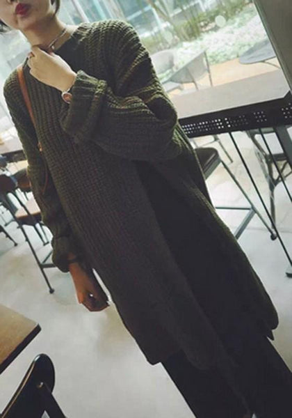 Army Green Plain Irregular Slit Long Sleeve Loose Casual Long Pullover Sweater