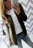 Army Green Plain Round Neck Long Sleeve Cardigan Sweater