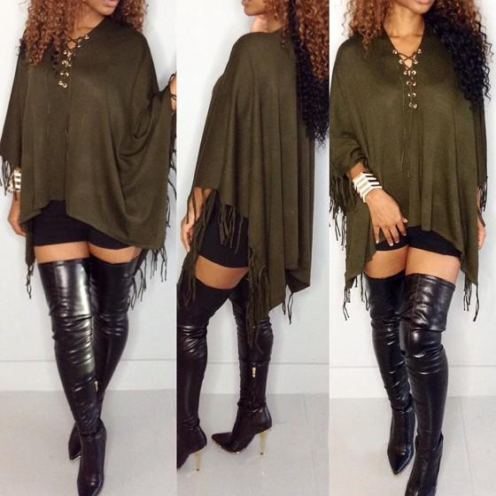Army Green Plain Tassel Irregular V-neck Long Sleeve Mini Dress