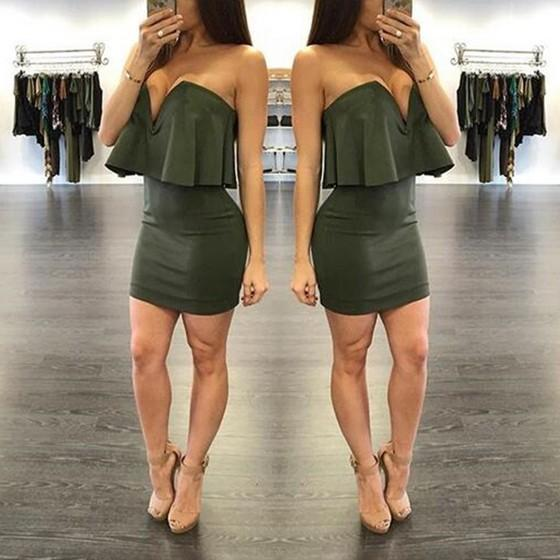 New Women Army Green Plain Tiered Plunging Neckline Sleeveless Mini Dress
