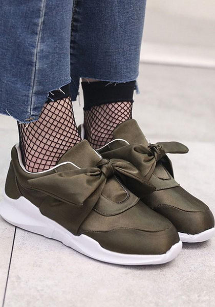 Army Green Round Toe Flat Bow Casual Shoes