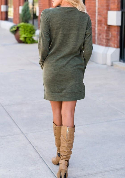 Army Green V-neck Pockets Long Sleeve Casual Mini Dress