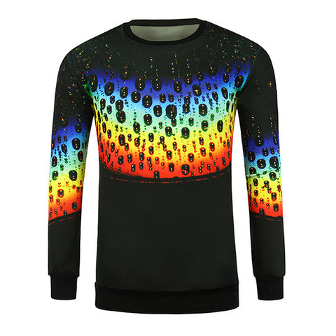 Mens Unique 3D Colorful Rainbow Printing Long Sleeve Casual T-shirts