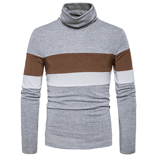 Mens Hit Color High Collar Pullover Fall Winter Warm Knitted Casual Sweater