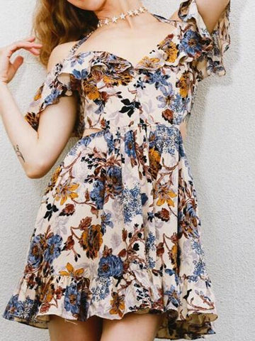 Polychrome Chiffon Halter V-neck Floral Print Ruffle Trim Mini Dress