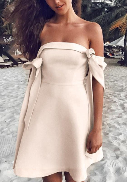 Beige Bow Zipper Boat Neck Short Sleeve Mini Dress