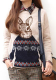 Beige Cartoon Print Round Neck Loose Cute Pullover Sweater