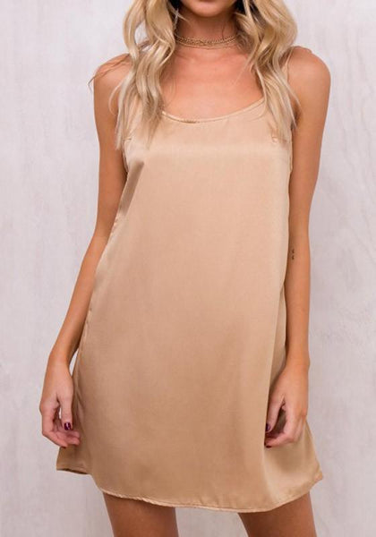Beige Draped Lace-up Spaghetti Strap Backless A-line Round Neck Clubwear Mini Dress