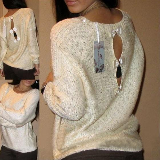 Beige Floral Cut Out Bow Long Sleeve Pullover Sweater