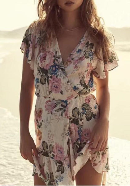 Beige Floral Print Irregular Sashes Plunging Neckline Short Sleeve Mini Dress