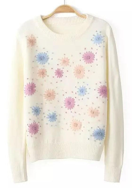 Beige Flowers Embroidery Pullover