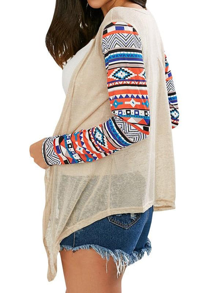Beige Mosaic Print Long Sleeve Casual Cardigan Sweater