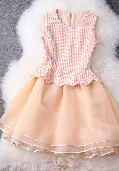 New Women Beige Patchwork Wavy Edge Grenadine Zipper Fashion Mini Dress