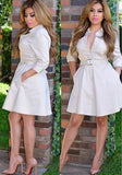 Beige Plain Belt High Waist Turndown Collar Cute Skater Mini Dress