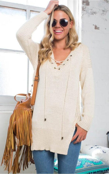 Beige Plain Drawstring Irregular Knit Pullover Sweater