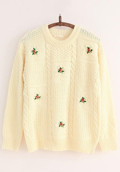 Beige Plain Flowers Embroidery Sweet Pullover