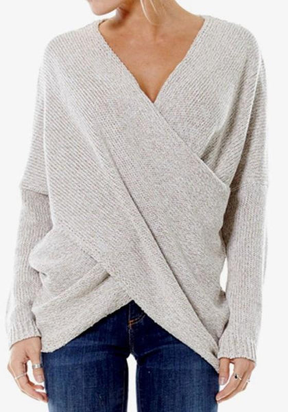 Beige Plain Front Cross Irregular V-neck Long Sleeve Oversized Pullover Sweater
