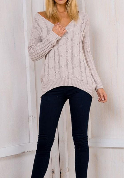 Beige Plain Irregular Cross Back Hollow-out Deep V-neck Casual Oversized Pullover Sweater