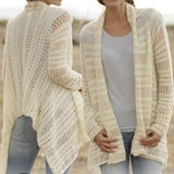 Beige Plain Irregular Hollow-out Long Sleeve Fashion Polyester Cardigan Sweater