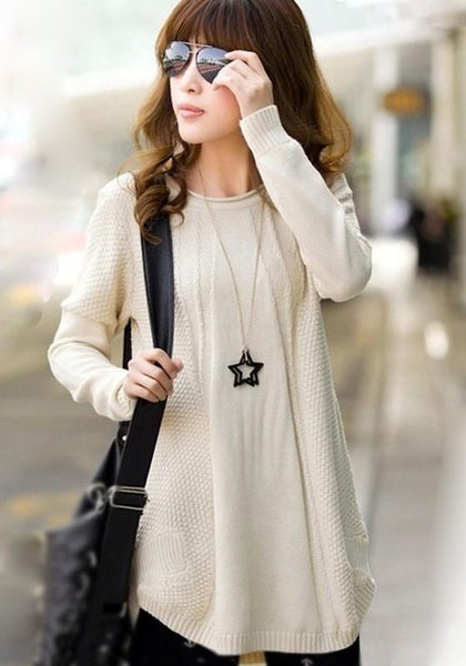 Beige Plain Knit Pullover Sweater