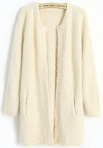 Beige Plain Round Neck Wool Blend Cardigan