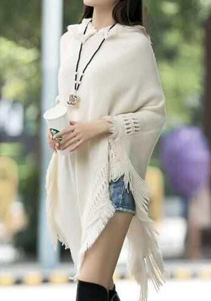 Beige Plain Tassel Hooded Fashion Acrylic Pullover Sweater