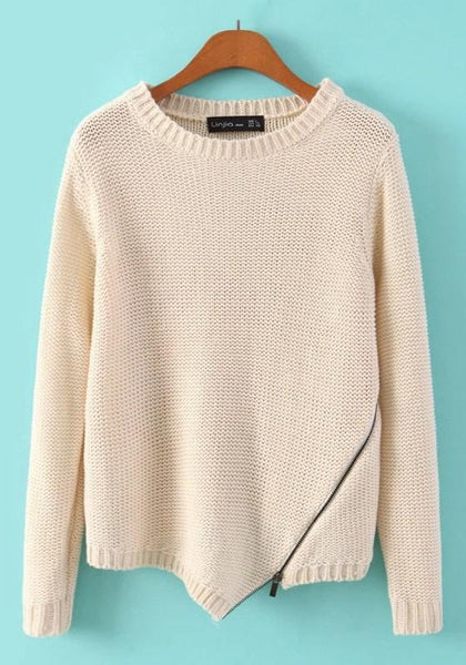 Beige Plain Zipper Round Neck Knit Pullover Sweater