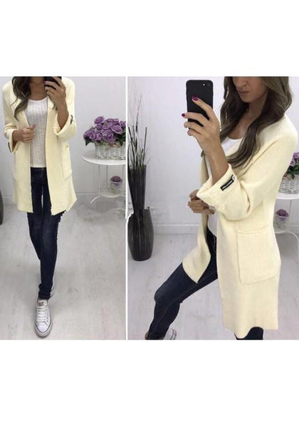 Beige Pockets Draped Oversize Long Sleeve Casual Cardigan Sweater