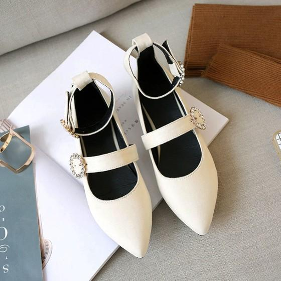 Beige Point Toe Flat Rhinestone Double Buckle Casual Shoes