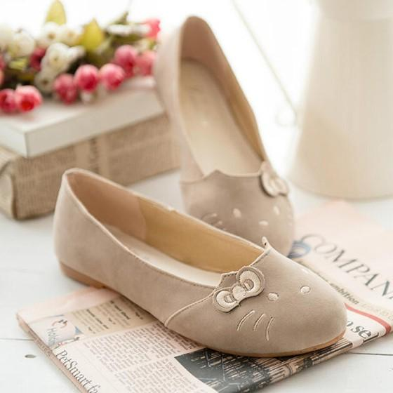 Beige Round Toe Bow Cat Face Casual Flat Shoes