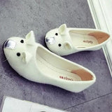 Beige Round Toe Flat Cartoon Mouse Print Cute Shoes